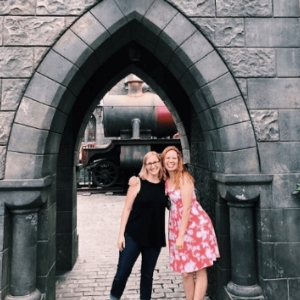 Best Things About 2018. Photo of authors J.R. Boles and Bryn Donovan at Harry Potter's Wizarding World, Universal Studios, California.